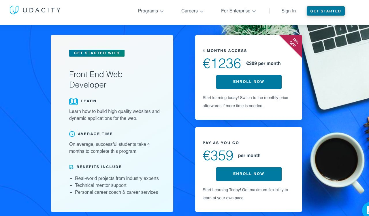 Udacity prices for classes