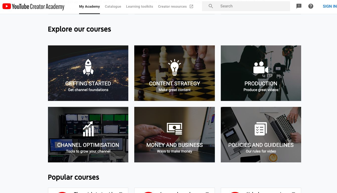 Youtube Creator Academy course offering
